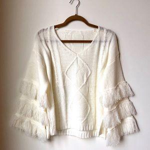 Fringe Sleeve White Sweater